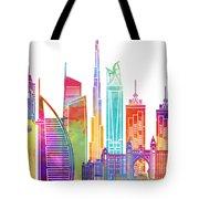 Dubai Landmarks Watercolor Poster Tote Bag