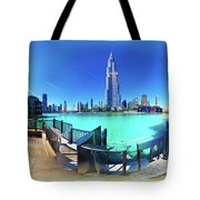 Dubai Burj Khalifa Panorama Tote Bag