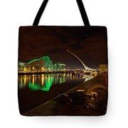 Dublin's Samuel Beckett Bridge At Night Tote Bag
