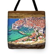 Dubrovnik Historic City And Harbor Aerial View Through Stone Win Tote Bag