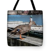Duck About To Jump. Tote Bag