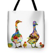 Duck Family-colorful Tote Bag