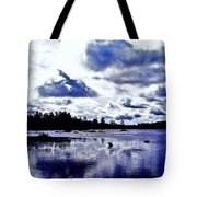 Duck Soars Little Togus Pond Storm Clouds Augusta Tote Bag