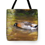 Duck Submerge It Head Into The Water Looking For Food In The River 2 Tote Bag