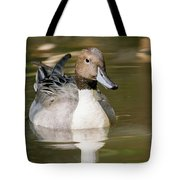 Duck Swimming, Front Portrait. Tote Bag