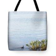 Duck Swimming In Lake Tote Bag