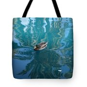 Duck Swimming In The Blue Lagoon Tote Bag