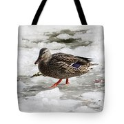 Duck Walking On Thin Ice Tote Bag