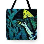 Duck With Umbrella Blue Tote Bag