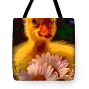 Fuzzy Duckling And Daisies Tote Bag