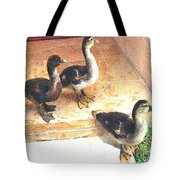 Ducklings Come To Visit Tote Bag