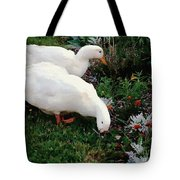 Ducks In The Garden At The Shipwright's Cafe Tote Bag
