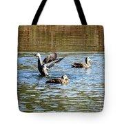 Ducks On Colorful Pond Tote Bag