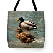 Ducks On Ice Tote Bag