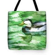 Ducks Swimming In A Pond Tote Bag