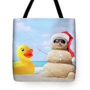Ducky And Santa At The Beach Tote Bag