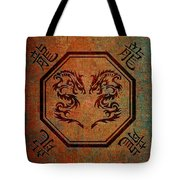 Dueling Dragons In An Octagon Frame With Chinese Dragon Characters Yellow Tint  Tote Bag