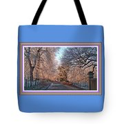 Dundalk Avenue In Winter. L B With Decorative Ornate Printed Frame. Tote Bag