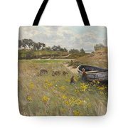 Dune Landscape With Children And Sheep Tote Bag