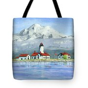 Dungeness Lighthouse With Mount Baker Tote Bag