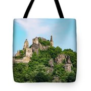 Durnstein Castle And Stone Outcroppings Tote Bag