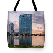 Dusk Panorama Of The Woodlands Waterway And Anadarko Petroleum Towers - The Woodlands Texas Tote Bag