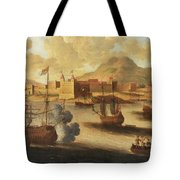 Dutch And English Warships Tote Bag