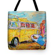 Dutch Holiday, Yellow Surf Bus Tote Bag