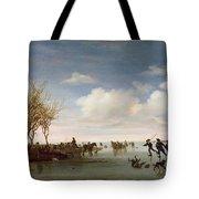 Dutch Landscape With Skaters Tote Bag by Salomon van Ruysdael