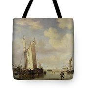 Dutch Vessels Inshore And Men Bathing Tote Bag