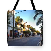 Duval Street In Key West Tote Bag by Susanne Van Hulst