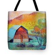 Dyeleaf Mountain Barn Sunrise Tote Bag