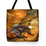 Eagle And Horse - Spirits Of The Wind Tote Bag