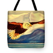 Eagle And Mountains Tote Bag