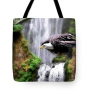 Eagle By The Waterfall Tote Bag