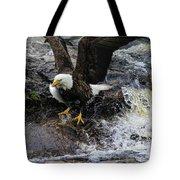 Eagle Catches Fish Tote Bag