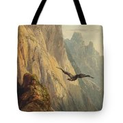 Eagle Circling Before A Cliff Face Tote Bag