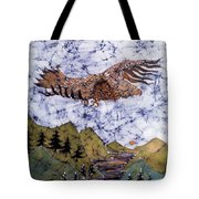 Eagle Flies Above Gorge Tote Bag by Carol Law Conklin