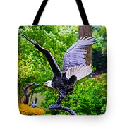 Eagle In The Garden Tote Bag