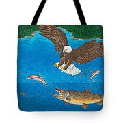 Eagle Trophy Brown Trout Rainbow Trout Art Print Blue Mountain Lake Artwork Giclee Birds Wildlife Tote Bag