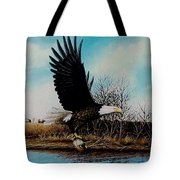 Eagle With Decoy Tote Bag