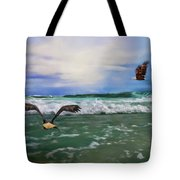 Eagles At Sea Wildlife Art Tote Bag
