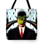 Ear Smoking Apple Guy Standing In The Man Rain Tote Bag
