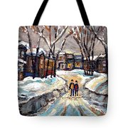 Original Montreal Paintings For Sale Winter Walk After The Snowfall Exceptional Canadian Art Spandau Tote Bag
