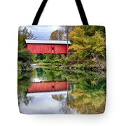 Early Fall Colors Surround A Covered Bridge In Vermont Tote Bag