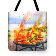 Early Morning Beach Bonfire Tote Bag