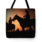 Early Morning Cowboys Tote Bag