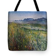 Early Morning Fog In The Foothills Of The Overberg Range Of Mountains Near Heidelberg South Africa. Tote Bag