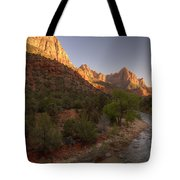 Early Morning Hike At Zion National Park  Tote Bag