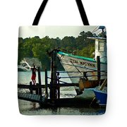 Early Morning Net Toss Tote Bag